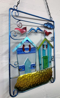 Twin Beach Huts in Metal Frame Colourful Hanging Wall Art
